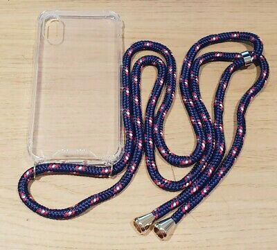 Clear Protective Case With Navy Adjustable Lanyard NEW For Apple IPhone X • 1.49£