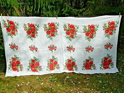 $ CDN16 • Buy Vintage Christmas Tablecloth Baskets Of Poinsettias And Ornaments 58 X 100