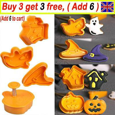 4pcs/set Halloween Biscuit Mold Cutter Cookie Stamp Fondant Pastry Mould Tool UK • 3.49£