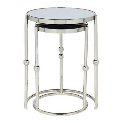 CONTEMPORARY Tables Mirrored Glass And Nickel Nest Of 2 Table RRP £400 Sale £99 • 74.99£