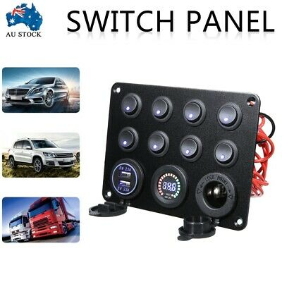 AU34.99 • Buy 8 Gang 12V Dual USB Switch Panel With Voltmeter For Car RV Boat Marine Truck