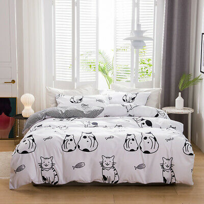 Cartoon Cat Duvet Cover Animal Quilt Cover Bedding Set Single Double King Size • 42.99£