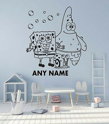 Personalised Wall Art Sticker Child's Room Spongebob Any Colour And Name  • 13.99£