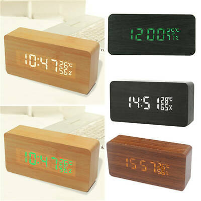 LED Square Bedside Small Alarm Clock Voice Control Electric Clock Sound Display • 14.07£