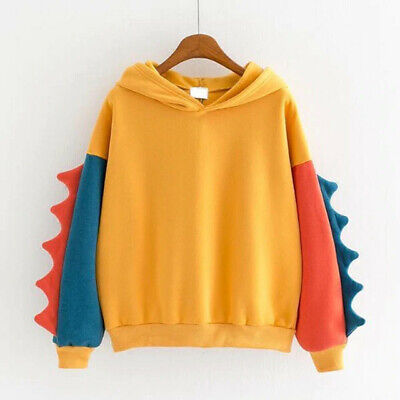 Dinosaur Hoodie Yellow LARGE Top Clearance Spike Tail Shirt Sweater Abdl Jacket • 9.99£