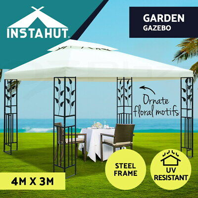 AU199.90 • Buy Instahut Gazebo 4x3 Party Marquee Outdoor Wedding Event Tent Iron Art Canopy