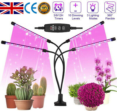 4 Heads LED Grow Light Plant Growing Lamp Lights For Indoor Plants Hydroponics • 14.24£