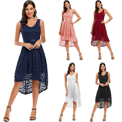 Fashion Women Lace V-neck Party Dress Bridesmaid Formal High Low Evening Dresses • 19.59£