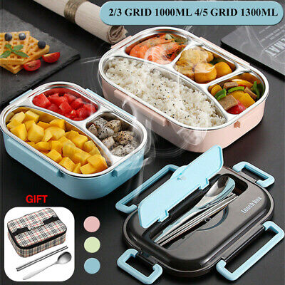 AU24.61 • Buy ❤️ AU STOCK 2-5 Grid Stainless Thermal Insulated Lunch Box Bento Food Container