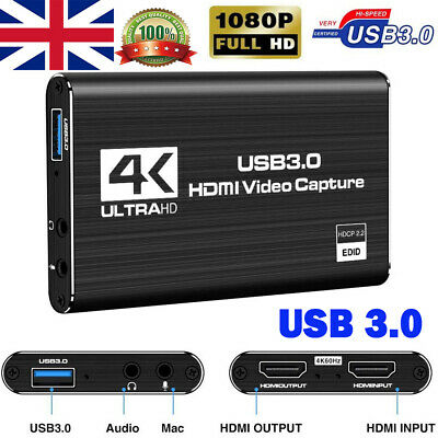 4K 1080p 60fps HDMI To USB 3.0 Video Capture Card Game Live Stream Screen Record • 45.99£