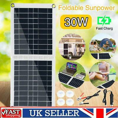 12V 30W Foldable Solar Panel Car Battery Charger Portable USB Camping Charger • 26.78£