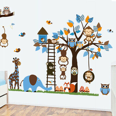 Wall Stickers Cartoon Animal Bird Owl Jungle Zoo Decal Baby Kids Nursery Bedroom • 7.14£