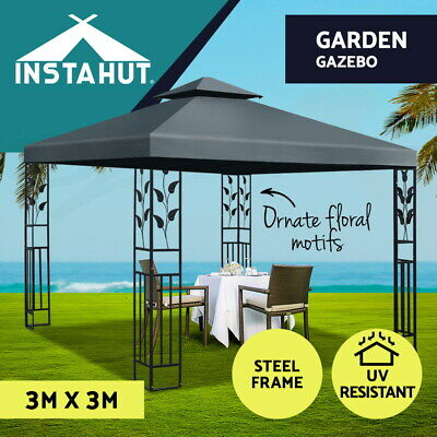 AU189.91 • Buy Instahut Gazebo 3x3 Party Marquee Outdoor Wedding Event Tent Iron Art Canopy