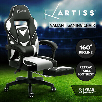 AU189.95 • Buy Artiss Gaming Chair Office Computer Chair Recliner Work Seat Black White