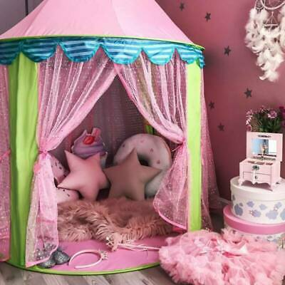 Baby Girls Princess Castle Play Tent Fairy Tale Pink Prairie Foldable Play House • 15.98£