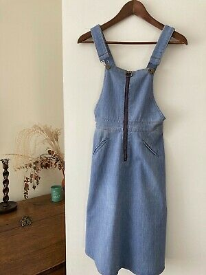 AU120 • Buy 1970s Vintage Denim Overall Bib Pinafore Jumper Dress, Size XS, Great Condition