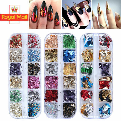 Nail Art Foil Leaf Gold Silver Flakes Chunky Glitter Body Manicure Decor Makeup • 3.99£