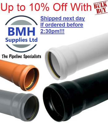£19.95 • Buy Underground & Soil Pipe Drainage 3m Lengths 110mm, Next Day Delivery, Bulk Buy!