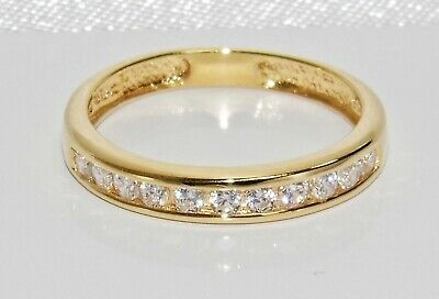 9ct Yellow Gold On Silver 0.25ct Diamond Eternity Ring - ALL SIZES AVAILABLE • 25£