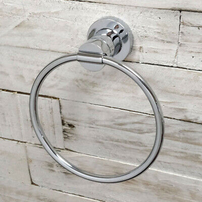 KNIGHT METAL CHROME EFFECT ROUND TOWEL RING WALL MOUNTED KITCHEN BATHROOM