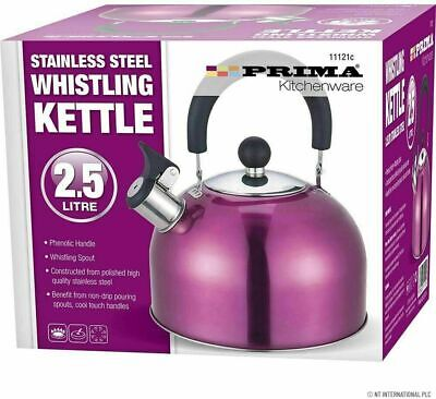Stainless Steel Whistling Kettle 2.5L Stove Top Hob Kitchenware Camping Purpel • 9.99£