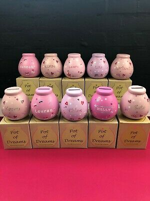 Personalised Pots Of Dreams Money Boxes Piggy Banks Gifts Names Girls Pink New • 11.99£