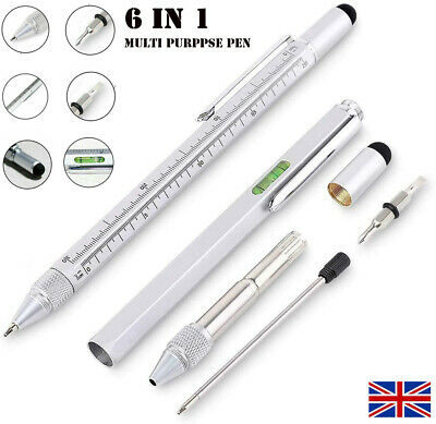 6 In 1 Handy Pen Multi Tool Gadget Stylus Ruler Screwdriver Spirit Level Pen UK • 4.14£