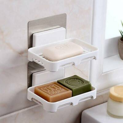 Wall Self-Adhesive Soap Holder Dish Bathroom Shower Storage Dishes Container Box • 3.76£