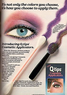 $ CDN15 • Buy 1985 Q-Tips Qtips Cotton Swabs Makeup Applicator Retro VTG Print Ad Vintage 80s