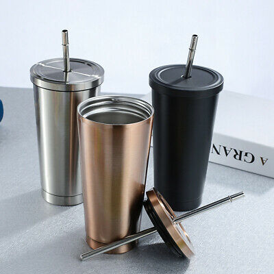 AU24.99 • Buy 500ml Gradient Cup With Straw Stainless Steel Travel Mug Insulated Drinks Cup