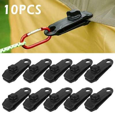 10 X Reusable Tent Tarp Tarpaulin Clip Clamp Buckle Camping Tool Heavy Duty  • 6.99£