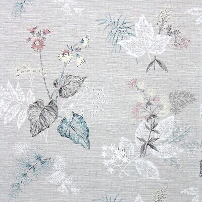 £32.60 • Buy 1950s Vintage Wallpaper Floral Wallpaper Pink Flowers Gray And White Botanical