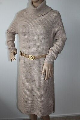 Monsoon Ladies Fab Polo Neck Jumper Dress Wool / Aplaca Beige Colour Size S • 24.99£