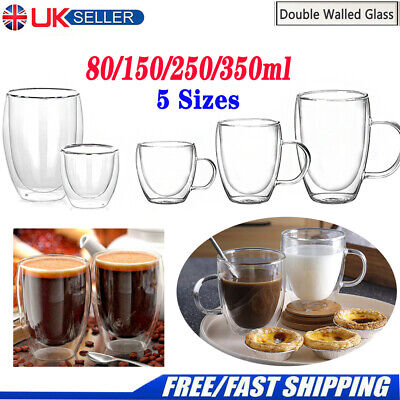 Double Walled Clear Glass Coffee Mugs Tea Cups Beer Thermal With Handles Cups UK • 11.89£