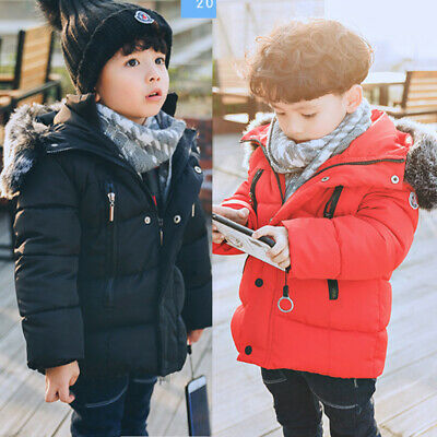 Kids Girls Boys Winter Warm Coat Down Parka Outwear Hooded Fashion Jacket Coats • 17.99£