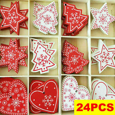 24 X Wooden Christmas Tree Hangers Hanging Decorations DIY Pendants Xmas Gifts • 3.99£