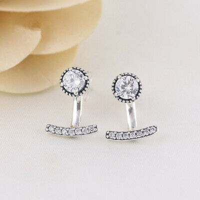 UK Genuine Pandora Silver Abstract Elegance Drop Stud Earrings - 290743CZ • 16.99£