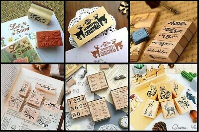 £3.69 • Buy Wooden Mounted Ink Stamper -Various Designs & Sizes - Christmas, Everyday & More