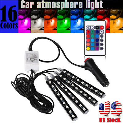 $29.99 • Buy Parts Accessories RGB LED Lights Car Interior Floor Decor Atmosphere Strip Lamps