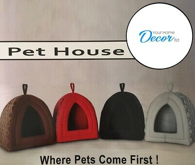£8.49 • Buy Pet House Cave Fleece Padded Bedding Dog Puppy Cat Bed Igloo Warm Washable House
