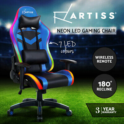 AU219.95 • Buy Artiss Gaming Office Chair RGB LED Lights Computer Desk Chair Home Work Chairs