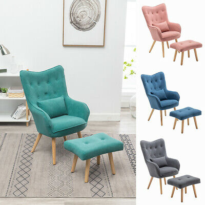 Occasional Velvet Button Wing Back Armchair Lounge Tub Chair Sofa With Footstool • 149.95£