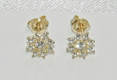 £49.95 • Buy 9ct Gold Diamond Cluster Stud Earrings - Solid 9K Gold - Gift Boxed