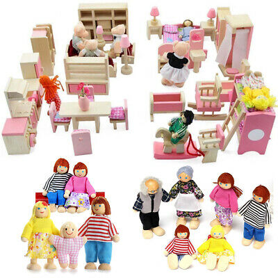 Wooden Furniture Dolls House Set Room Family People Miniature Toys Kids Gifts UK • 47.30£