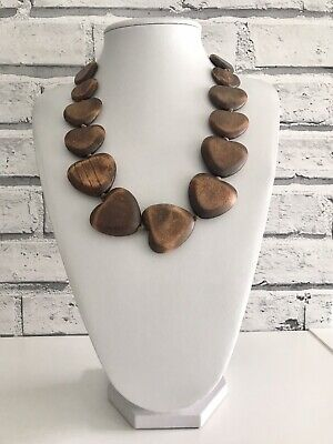 Brown Wood Wooden Chunky Heart Bead Beaded Cord Necklace Boho Statement • 9.99£