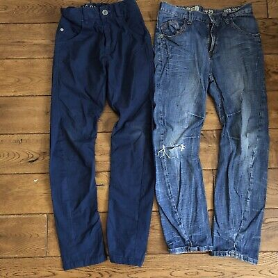 Age 8 Next Blue Twisted Chinos/River Island Loose Ripped Jeans • 3£