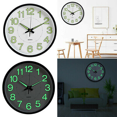12'' Luminous Wall Clock Glow In The Dark Silent Fluorescence Home Living Room • 9.95£