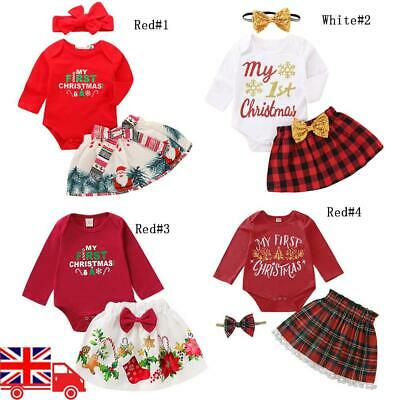 UK Toddler Baby Girls Christmas Romper Tutu Skirt Outfits Xmas Party Fancy Dress • 6.09£