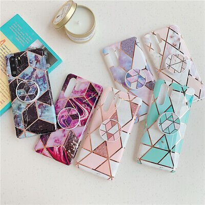 Geometric Marble Phone Case With Holder For Huawei Mate30 P30Pro P20 P40 Cover • 7.15£