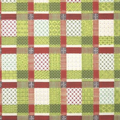 £39.85 • Buy 1950s Vintage Wallpaper Plaid Geometric Wallpaper With Green Red And White